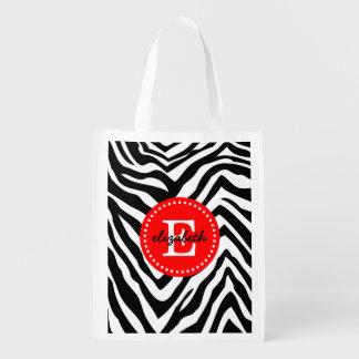 Black and Red Zebra Print Custom Monogram Reusable Grocery Bag