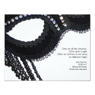 Black and Rhinestone-look Mask Halloween Party 11 Cm X 14 Cm Invitation Card