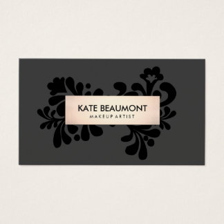 Black and Rose Gold Makeup Artist and Hair Salon Business Card