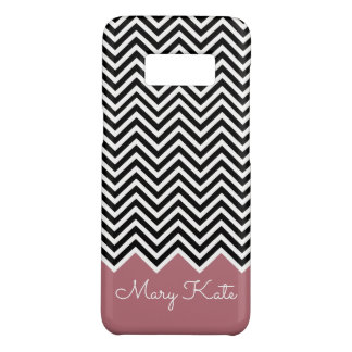 Black and rose gold Modern Chevron Custom Monogram Case-Mate Samsung Galaxy S8 Case