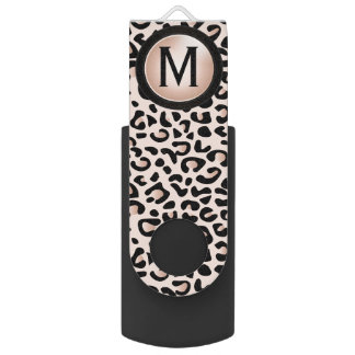 Black and Rose Leopard Animal Print | DIY Monogram USB Flash Drive