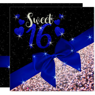 Black and Royal Blue Glittery Sweet 16 Invite
