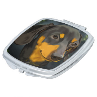 Black and Rust Dachshund Dog Vanity Mirrors