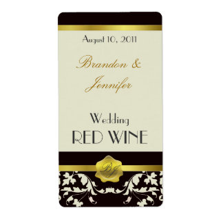 Black and Sand Monogram Wedding Mini Wine Labels