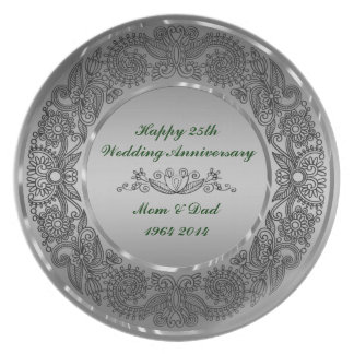 Black And Silver 25th Anniversary Plate