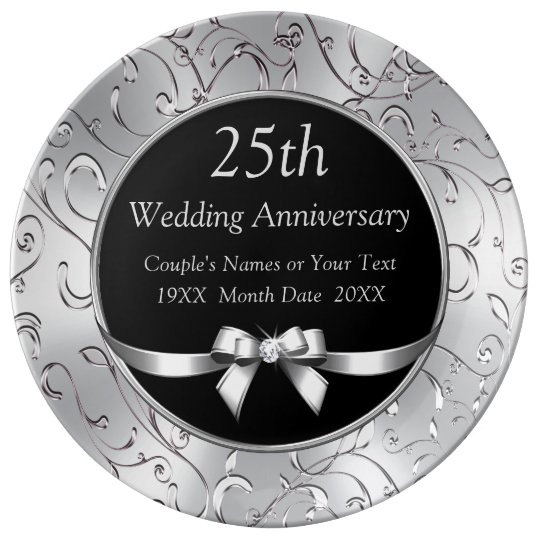 Black And Silver 25th Wedding Anniversary Gifts Plate Zazzle