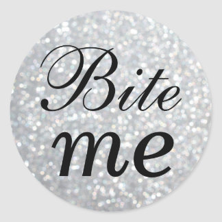 Black and Silver Bite Me Sticker