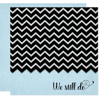 black and silver chevron design on blue card