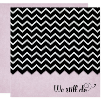 black and silver chevron design on pink blush card