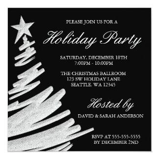 Black and Silver Christmas Tree Holiday Party 13 Cm X 13 Cm Square Invitation Card