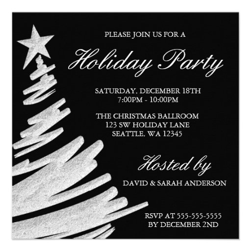 Black and Silver Christmas Tree Holiday Party Personalized Invitations
