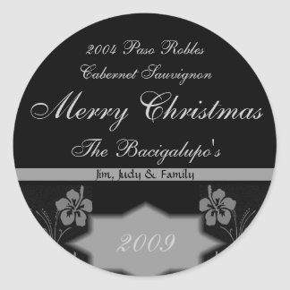Black and Silver Christmas Wine LARGE Labels Round Stickers
