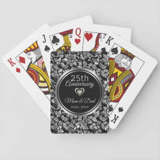 Black And Silver Damask 25th Anniversary Playing Cards