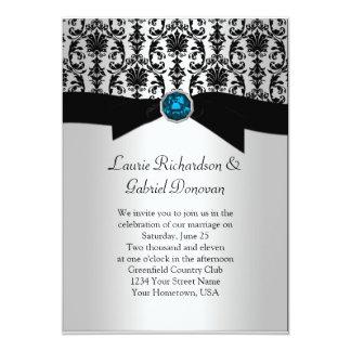 Black and Silver Damask Blue Jewel Wedding Invit Invite