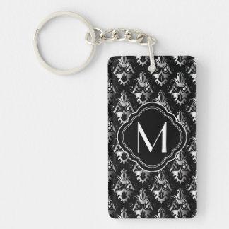 Black and Silver Damask Design with Monogram Double-Sided Rectangular Acrylic Key Ring