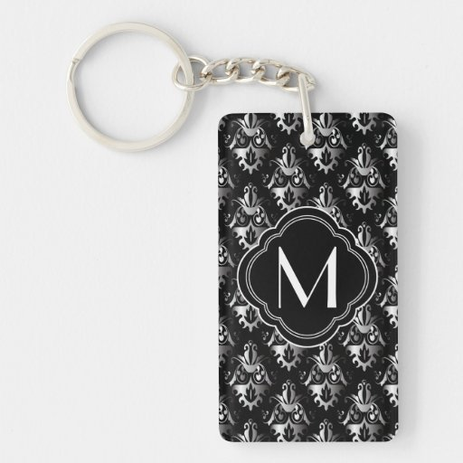 Black and Silver Damask Design with Monogram Rectangular Acrylic Keychain