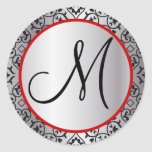 Black and Silver Damask Trim Wedding Seal Round Stickers
