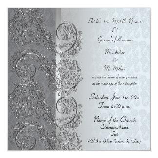"Black and silver damask wedding invitations 5.25"" square invitation card"