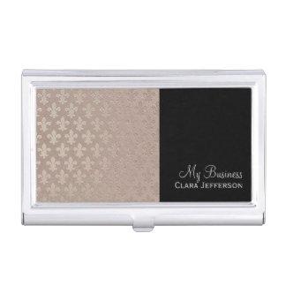 Black and silver fleur de lis metallic pattern business card holder