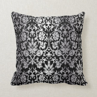 Black and Silver Floral Damask Cushion