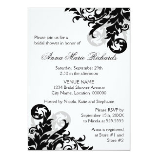Black and Silver Flourish Bridal Shower Card