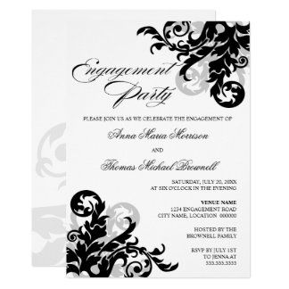 Black and Silver Flourish Engagement Party Card