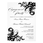 Black and Silver Flourish Engagement Party Announcement