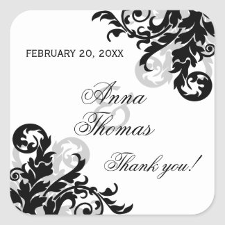 Black and Silver Flourish Wedding Favor Stickers