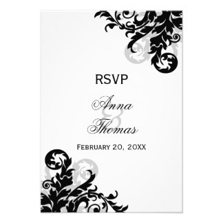 Black and Silver Flourish Wedding RSVP Cards
