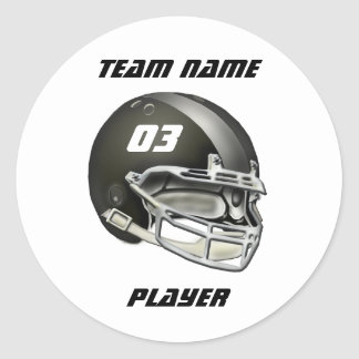 Black and Silver Football Helmet Classic Round Sticker
