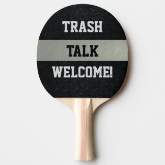 Black and Silver Funny Trash Talk Paddle
