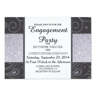 Black and Silver Glitter and Swirls Design Custom Announcement
