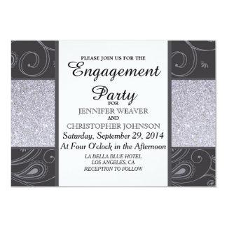 """Black and Silver Glitter and Swirls Design 5"""" X 7"""" Invitation Card"""