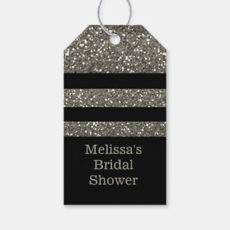 Black And Silver Glitter Bridal Shower Thank You Gift Tags