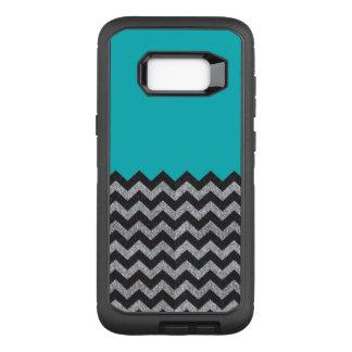 Black and Silver Glitter Chevron Galaxy 8+ Case