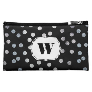 Black and Silver Glitter Dots Custom Monogram Cosmetic Bag