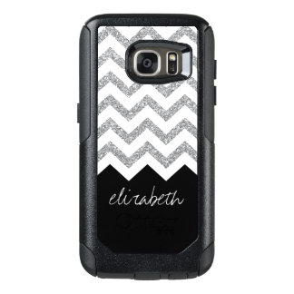 Black and Silver Glitter Print Chevrons and Name OtterBox Samsung Galaxy S7 Case