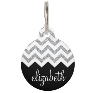 Black and Silver Glitter Print Chevrons and Name Pet Tag