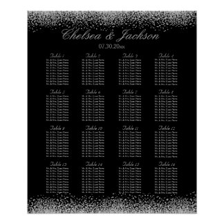 Black and Silver Gray - Seating Chart Poster
