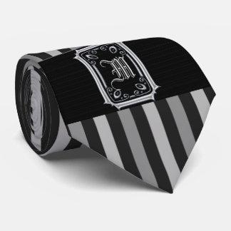 Black and Silver Gray Stripes Buckle Monogram Tie