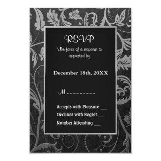 Black and Silver Grey Damask Wedding  - RSVP 9 Cm X 13 Cm Invitation Card