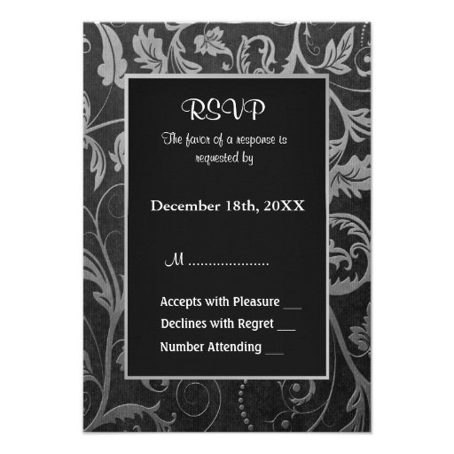 Black and Silver Grey Damask Wedding  - RSVP Personalized Announcement