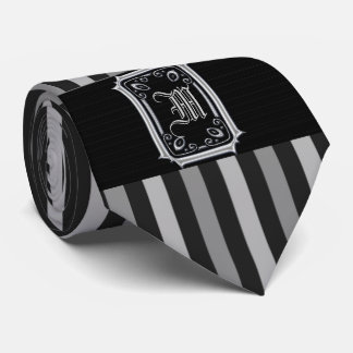 Black and Silver Grey Stripes Buckle Monogram Tie