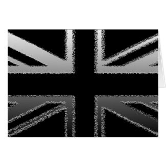 Black and Silver Grey Union Jack Flag Note Card
