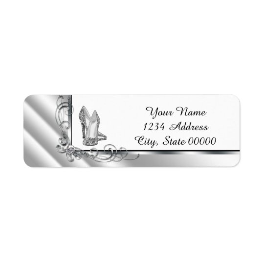 Black and Silver High Heel Shoe Address Return Address Label