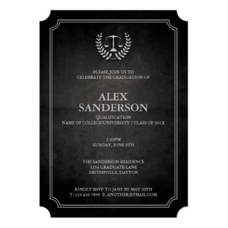Black and Silver Law School Graduation Party 13 Cm X 18 Cm Invitation Card