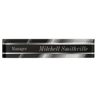 Black and Silver Metallic Diagonal Stripes Name Plate