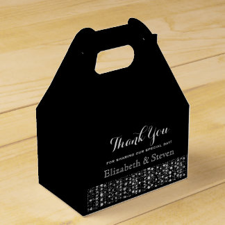 Black and Silver Modern Wedding Favor Boxes
