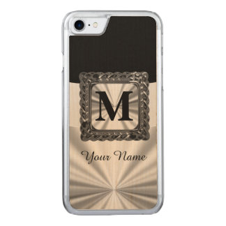 Black and silver monogram carved iPhone 7 case