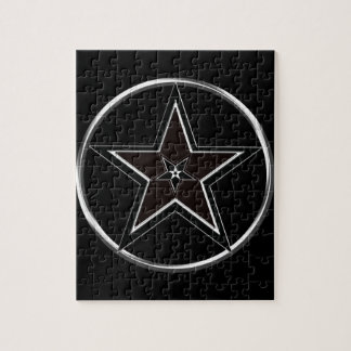 Black And Silver Pentacle with Inverted Pentagram Puzzles